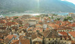 Mediterranean city red roofs top view. Old town Kotor