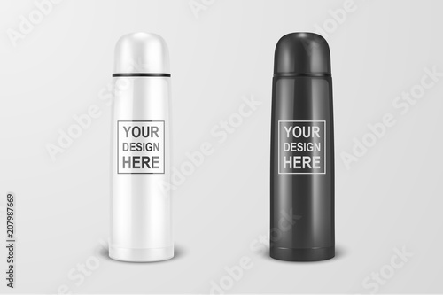 Photo  Vector realistic 3d white and black empty glossy metal vacuum thermo tumbler flask icon set closeup on white background