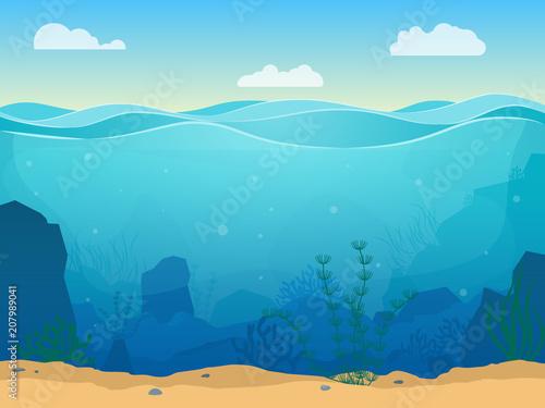 Fotobehang Blauw Cartoon Sea Underwater Scene Color Background. Vector