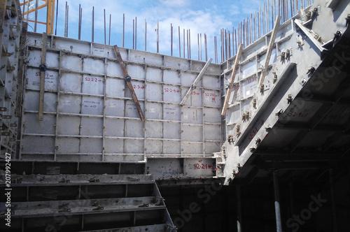Precast system aluminium formwork used at the construction