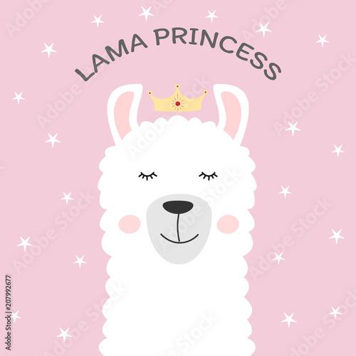 Cute cartoon animal and inscription lama princess Wallpaper Mural