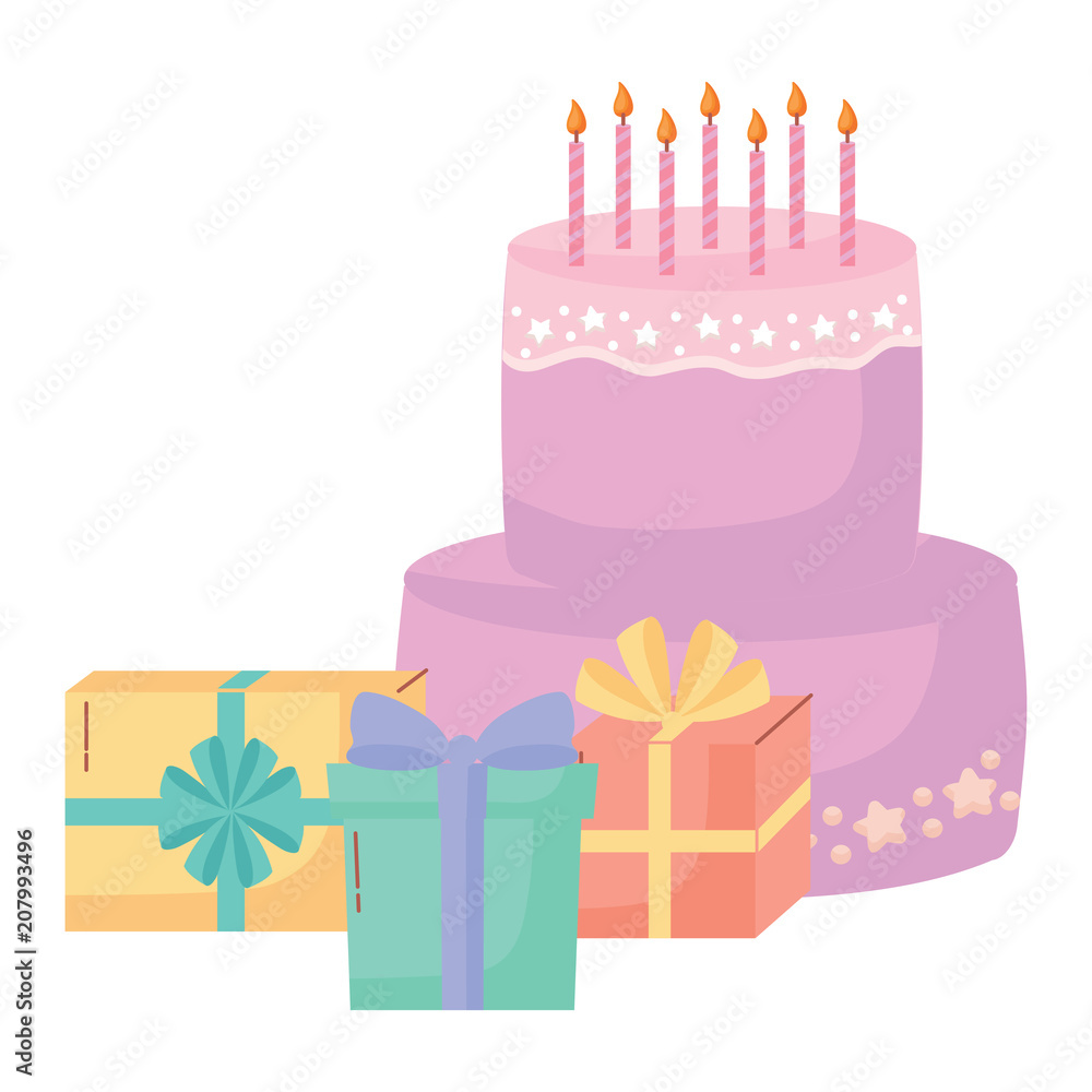 Happy Birthday Design With Cakes And Gift Boxes Over White Background Colorful Foto Poster Wandbilder Bei EuroPosters