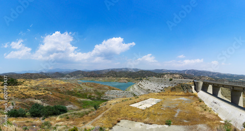 Spoed Foto op Canvas Cyprus Panorama of Kalavasos reservoir in Cyprus