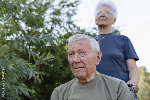 Supportive senior couple enjoying beautiful day outdoor