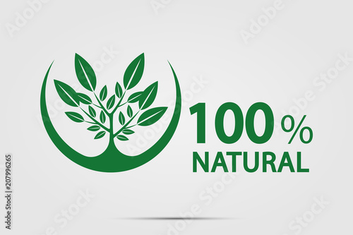 eco green energy concept,100 percent natural label. Vector illustration. - fototapety na wymiar