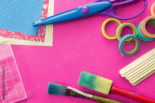 Background of Scrapbook and Craft Supplies Fototapeta
