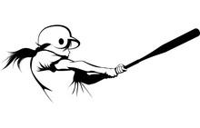 Girl Softball Hitter