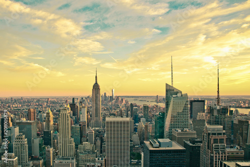Poster New York City Vintage style image of buildings across New York City at sunset with retro filter
