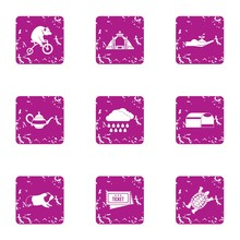 Circus Production Icons Set. G...