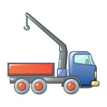 Truck Crane Icon. Cartoon Of T...