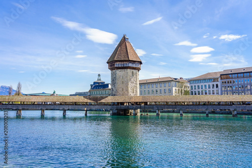 Panoramic view of city center of Lucerne with famous Chapel Bridge and lake Luce Poster