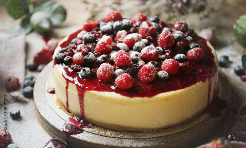 Fotobehang Brood Fresh berry cheescake food photography recipe idea