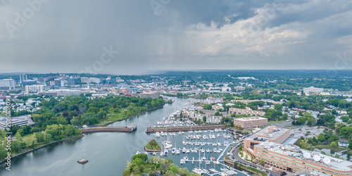 Wall Murals Port Aerial panorama of Stamford, Connecticut