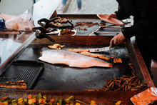 Grill Salmon Fillet On Outdoor...