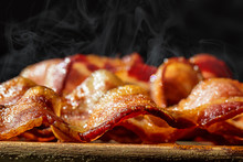 Closeup Pile Of Hot Sizzling Bacon