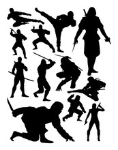 Ninja Silhouette. Good Use For Symbol, Logo, Web Icon, Mascot, Sign, Or Any Design You Want.