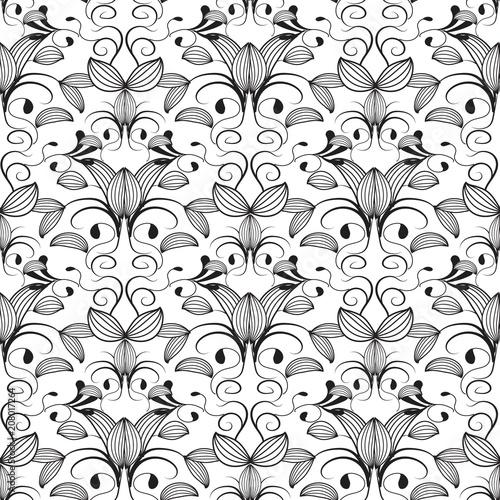 Fotobehang Kunstmatig Vintage black line art tracery flowers seamless pattern. White b