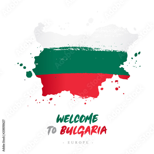 Welcome to Bulgaria. Flag and map of the country Canvas Print