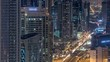 Dubai Downtown night timelapse modern towers view from the top in Dubai, United Arab Emirates.