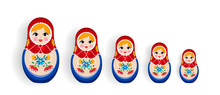 Set Of Russian Nesting Dolls Or Russia Souvenir