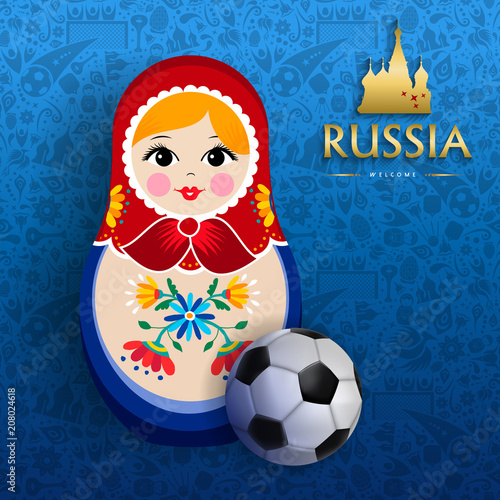 Fotobehang Sportwinkel Russian sport event poster of doll and soccer ball