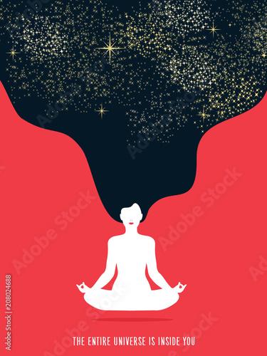 Girl doing yoga meditation for relaxation concept Fototapete