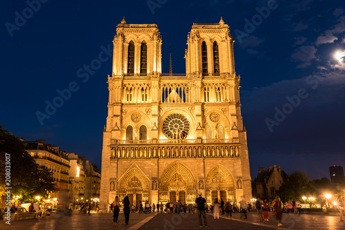 Photo sur Toile Europe Centrale Seine Notre-Dame in Paris