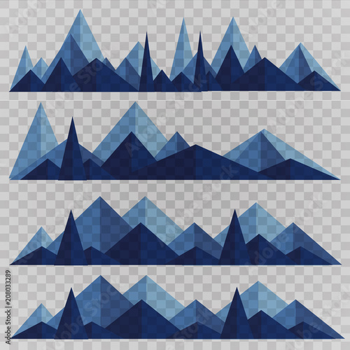 Poster  Mountains low poly style set. Polygonal mountain ridges.