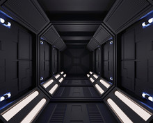 3D Rendering Spaceship Dark Interior With View,tunnel,corridor Small Lights