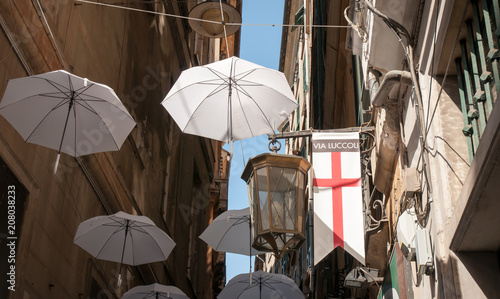 In de dag Smal steegje Genoa, Italy: detail of Via Luccoli, narrow alley in famous old town