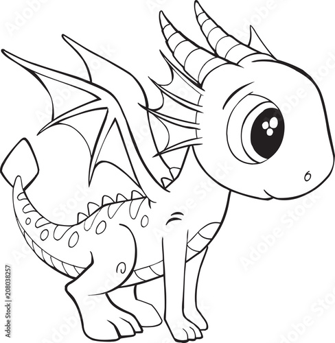 Staande foto Cartoon draw Cute Dragon Vector Illustration Art