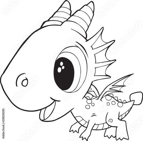 Poster Cartoon draw Cute Dragon Vector Illustration Art