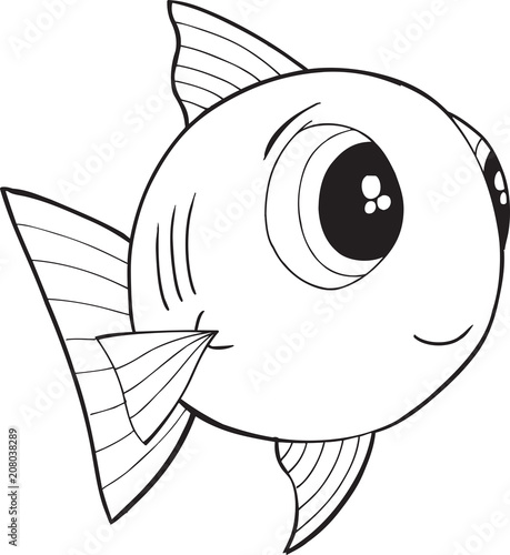 Papiers peints Cartoon draw Cute Happy Fish Vector illustration Art