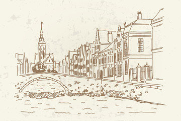 Vector sketch of Traditional architecture in the town of Bruges (Brugge), Belgium. Retro Style.