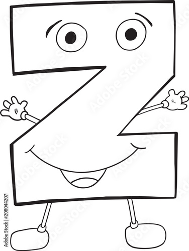 Poster Cartoon draw Cute Happy Letter Z Vector Illustration Art
