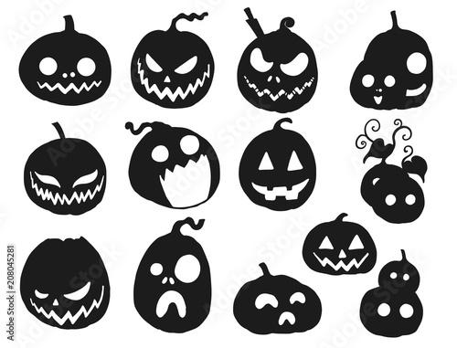 Halloween Pumpkin Vector.Set Of Halloween Pumpkin Vector Black Pumpkin Silhouette On White