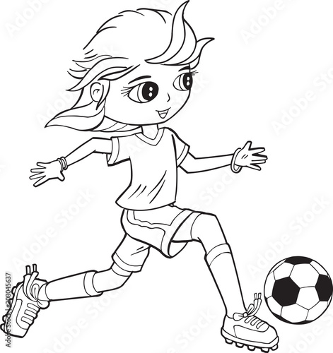 Tuinposter Cartoon draw Girl Child Soccer Player Vector Illustration Art