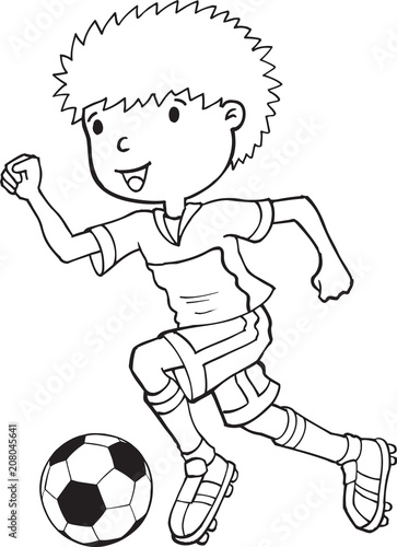 Poster Cartoon draw Boy Child Soccer Player Vector Illustration Art