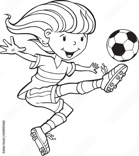 Fotobehang Cartoon draw Girl Child Soccer Player Vector Illustration Art