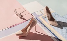 Composition Of Stylish High Heel Shoes With Feminine Accessories .