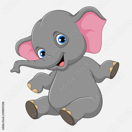 Canvas Prints Baby room Cute baby elephant sitting isolated on white background