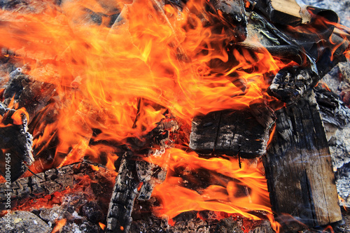 In de dag Vuur / Vlam Firewood burning in the fire. A flame burning over the coals.