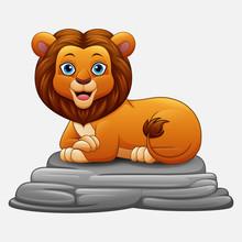 Cartoon Lion Sitting On Rock