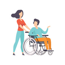 Girl Pushing Wheelchair With Disabled Man, Girl Supporting Her Friend, Handicapped Person Enjoying Full Life Vector Illustration On A White Background