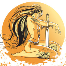 Vector Illustration Girl Amazon With Long Hair And Tattoo Holding Sword