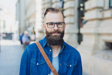 Young Bearded Man Wearing Glas...