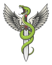 Snake With Wings On A Sword