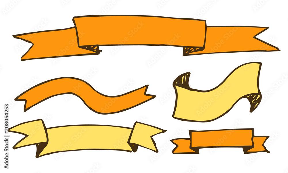 Fototapeta Banners and Ribbons Hand Drawn Vector Illustration