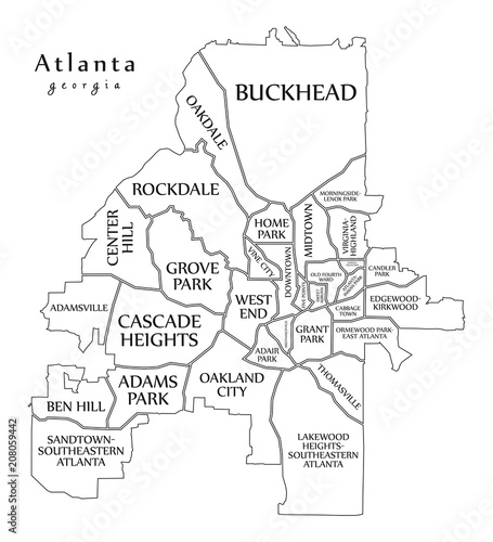 City Map Of Atlanta Georgia.Modern City Map Atlanta Georgia City Of The Usa With Neighborhoods