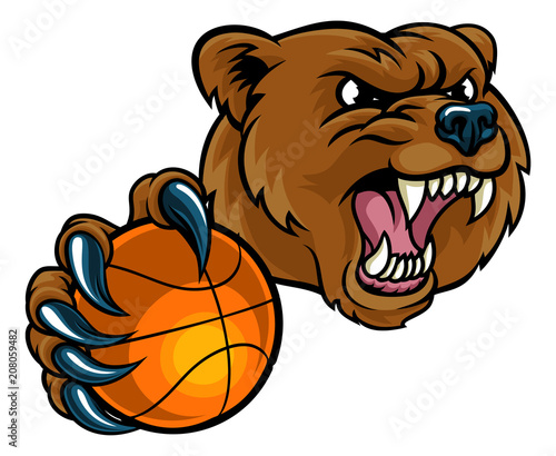 Bear Holding Basketball Ball Canvas Print